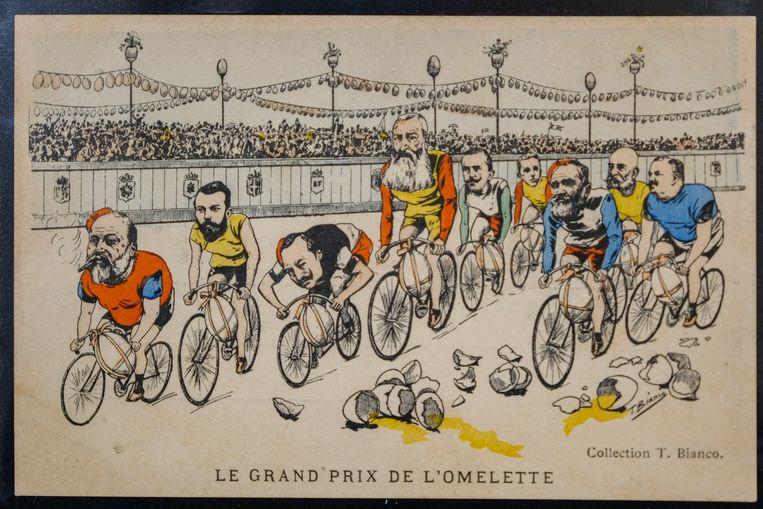 Veiling stukken over Leopold II: Postkaart met spotprent.