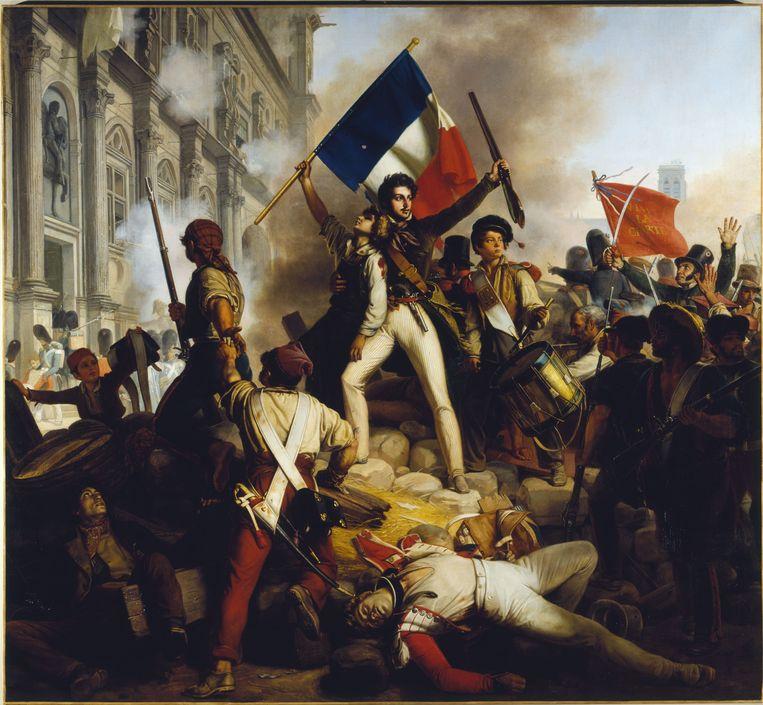 Jean Schnetz (1787-1870): Combat près de l'Hôtel de Ville, 28 Juillet 1830. Musée des Beaux-Arts de la Ville de Paris, Petit Palais. Beeld Petit Palais / Roger-Viollet