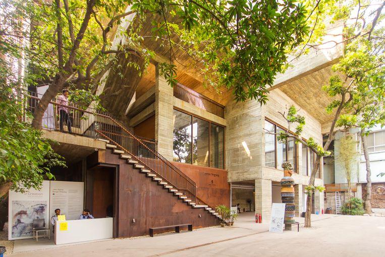 Bengal Shilpalay is gevestigd in een prachtig gebouw van ruw beton en roestend staal. Beeld null