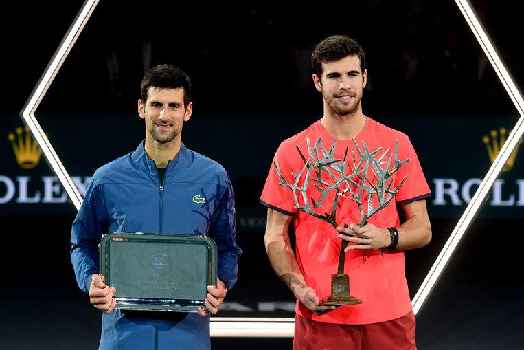 Khachanov won verrassend van Djokovic in Bercy.