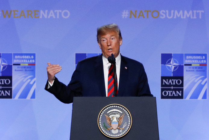 Trump tijdens zijn persconferentie.