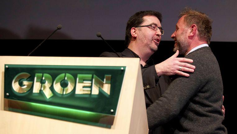 Groen-voorzitter Wouter Van Besien en Bart Staes