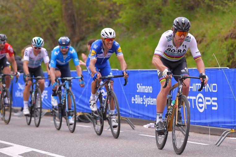Peter Sgan trekt door. Philippe Gilbert moet, met Valverde in zijn wiel, op de tanden bijten.