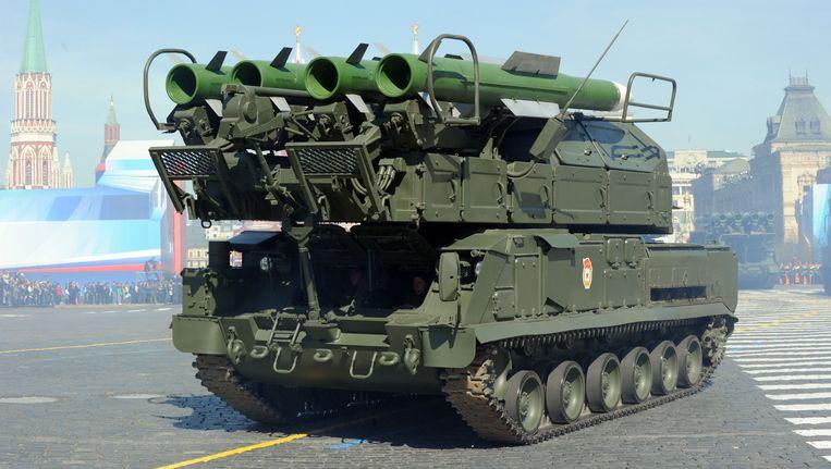 Een BUK-luchtdoelsysteem van de Russische landmacht. Beeld AFP