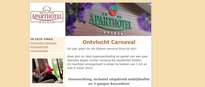 Het arrangement in de nieuwsbrief van het Aparthotel in Delden