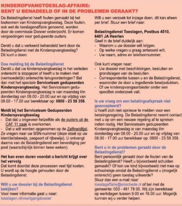 De advertentie/oproep van de gemeente Enschede in Huis aan Huis.