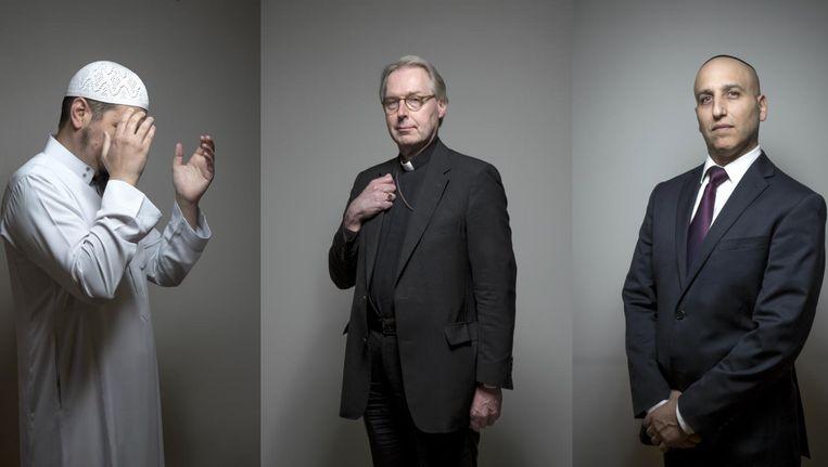 Imam Aboe Ismail, bisschop Gerard de Korte en rabbijn Menachem Sebbag. Beeld Mike Roelofs