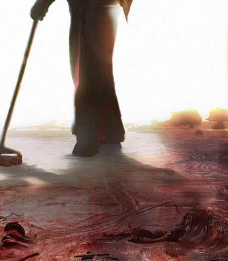 Schoonmaker ruimt slachtoffers van bloederige demonen. Korte horrorfilm Jan van Gorkum