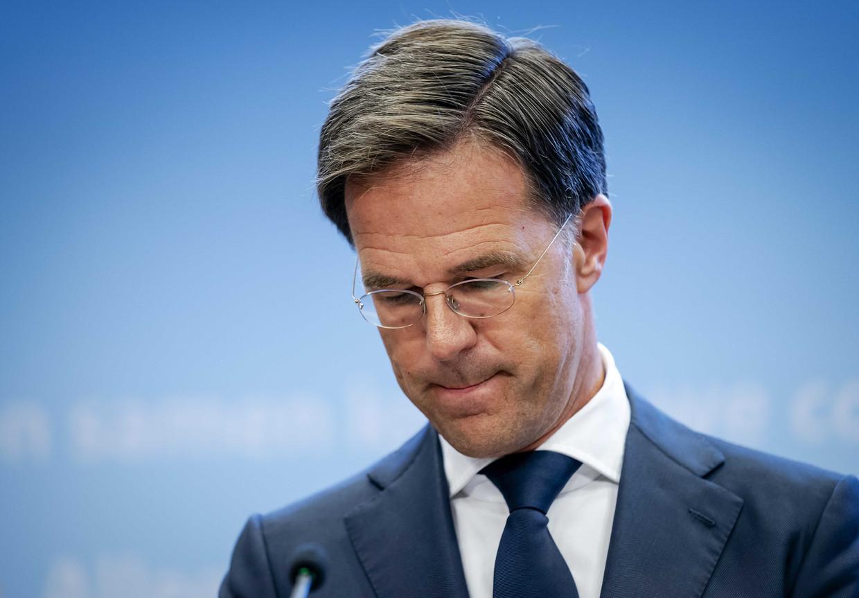 Premier Mark Rutte tijdens een persconferentie over de huidige stand van zaken omtrent corona in Nederland.  Beeld ANP