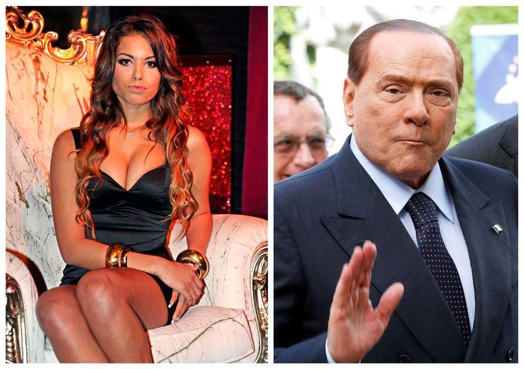 Links: stripper Karima El Mahroug, ook wel bekend als 'Ruby'. Rechts: de Italiaanse oud-premier Silvio Berlusconi. Beeld reuters