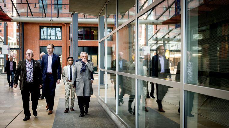 Jos van Rey arriveert bij de rechtbank in Rotterdam voor de voortzetting van zijn strafzaak. Beeld anp