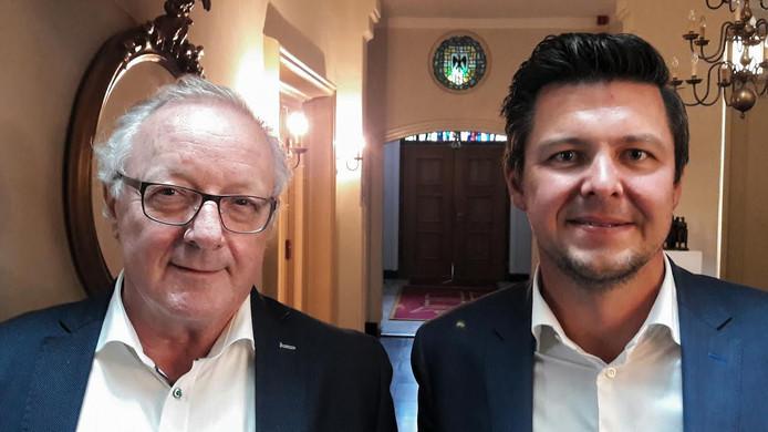 Toon van Schijndel (links) en Bas van de Laar van 7Th Heaven, sinds woensdag de nieuwe eigenaar van het Nazaret-klooster in Gemert