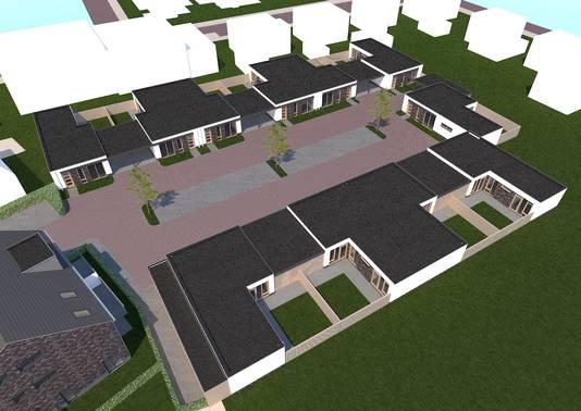 Impressie van De Hopbelhof; het nieuwbouwplan op de plek garage Fassbender aan de Hoofdstraat in Schijndel.