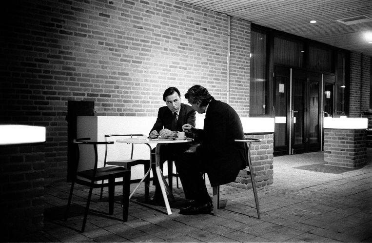 Brinkman en Lubbers tijdens een verkiezingsbijeenkomst van het CDA in februari 1994. Beeld Hollandse Hoogte/Roel Rozenburg
