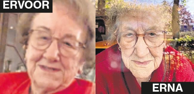 De moeder van Leonie van Dinter voor en na de lockdown.