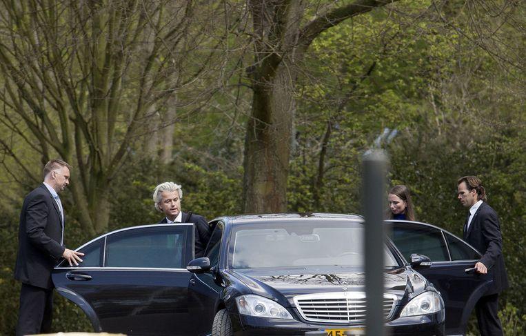 21 april 2012: Wilders verlaat het Catshuis op de dag dat de gesprekken zijn afgebroken. Beeld anp
