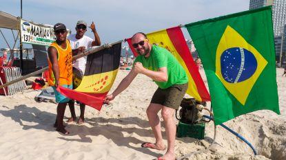 VIDEO. Onze mannen in Rio hijsen de Belgische vlag op Copacabana