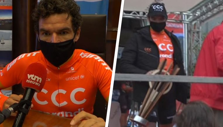 Links: Greg Van Avermaet gaf een interview aan VTM Nieuws. Rechts: Van Avermaet met zijn houten trofee