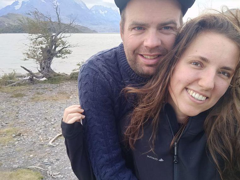 Ilse van Huizen en Jurjen Mulder in Torres del Paine in Chili. Beeld Ilse van Huizen