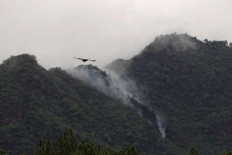 Rook stijgt op uit de bergen waar het vliegtuig woensdag neerstortte (Reuters) Beeld REUTERS