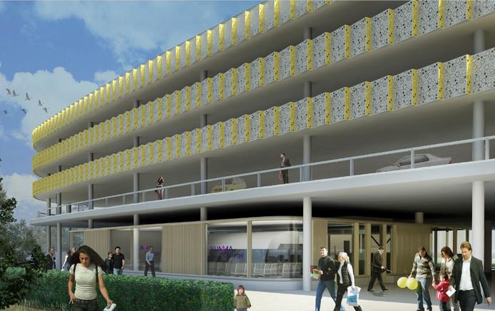 De nieuwbouw van de opleiding Luchtvaartdienstverlening van Summa College op de begane grond van P1 bij Eindhoven Airport. Een ontwerp van De Bever Architecten.