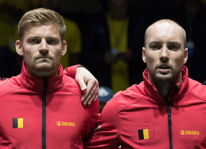 Belgian David Goffin and Belgian Steve Darcis pictured ahead of the game between Belgian Steve Darcis and Colombian Santiago Giraldo, first game in the group stage of the Davis Cup World Group tennis finals between Colombia and Belgium, Monday 18 November 2019, in Madrid, Spain. BELGA PHOTO BENOIT DOPPAGNE