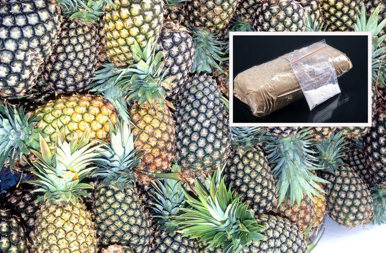 De drugs zaten verstopt tussen een lading ananassen.