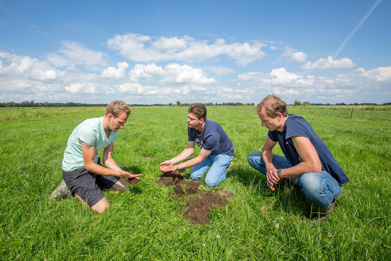 Grondanalyse bij boer Thomas van Rossum (l), door Joost van der Kroon (m) en Matthijs Boeschoten van stichting Wij.land.