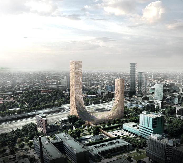Impressie van het gebouw de Dutch Mountains dat in Eindhoven moet verrijzen. Rechtsachter de torens van District E die op het Stationsplein zijn gepland. Op de voorgrond de gebouwen op de TU/e Campus, daarachter de Prof. dr. Dorgelolaan.