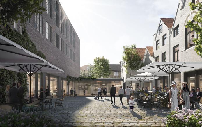 Een impressie van het binnenhof aan de Bagijnsteeg van het nieuwe hotel dat in het Lindershuis moet komen.