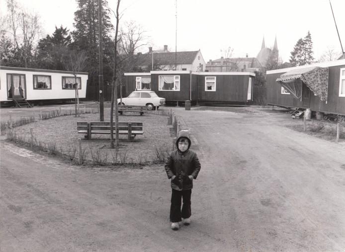 Woonwagenkampje in het centrum van Geldrop (1976).