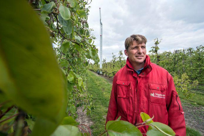 Martijn Vogelaar wil zoet water uit de Reigerbergsche polder gebruiken om veertig hectare boomgaard in de Stroodorpepolder te bedruppelen.