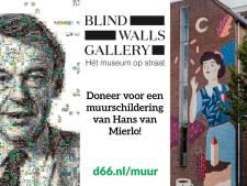 D66-congres: muurschildering van Hans van Mierlo in Breda