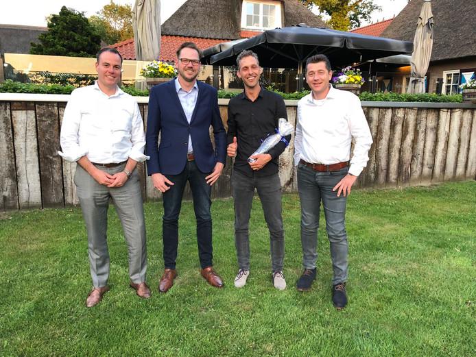 Van links naar rechts: Richard van den Hoeven (De Gusteau Hospitality Group in Hengelo), Rien Mol (Landgoed Het Rheins in Enter), Dennis Kaatman (Het Vliegende Paard in Zwolle) en Van den Hoevens compagnon Lars van Galen.