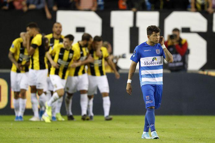 Rechtsback Gustavo Hamer was vrijdag de beste aanvaller van PEC Zwolle in het met 3-0 verloren uitduel bij Vitesse.