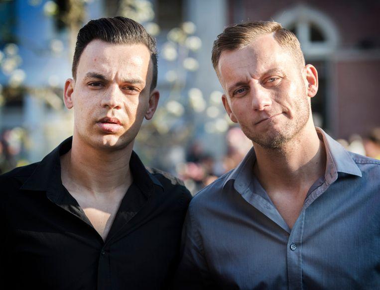 Jasper Sewratan en Ronnie Vernes tijdens een demonstratie tegen homogeweld. Beeld null