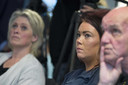Moeder Berthie, zus Femke en vader Peet Verstappen tijdens de persconferentie eerder dit jaar.