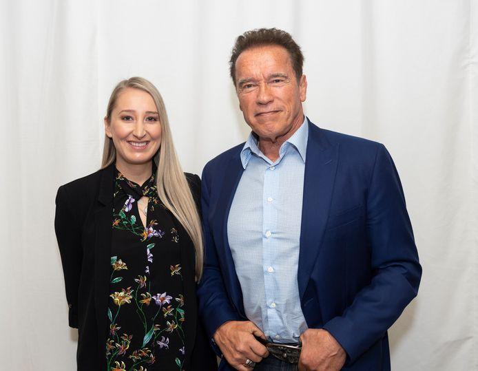 Arnold Schwarzenegger met onze journaliste Kristien Gijbels.