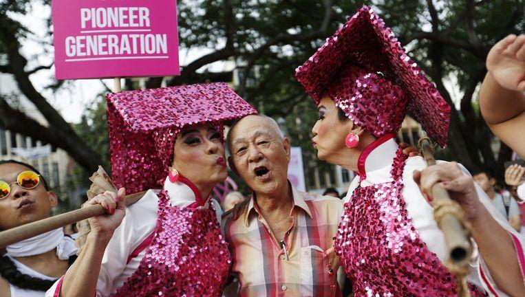 Het jaarlijkse LGBT-evenement Pink Dot in Singapore Beeld epa