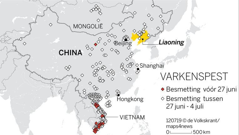 Verspreiding varkenspest in Oost-Azië.  Beeld