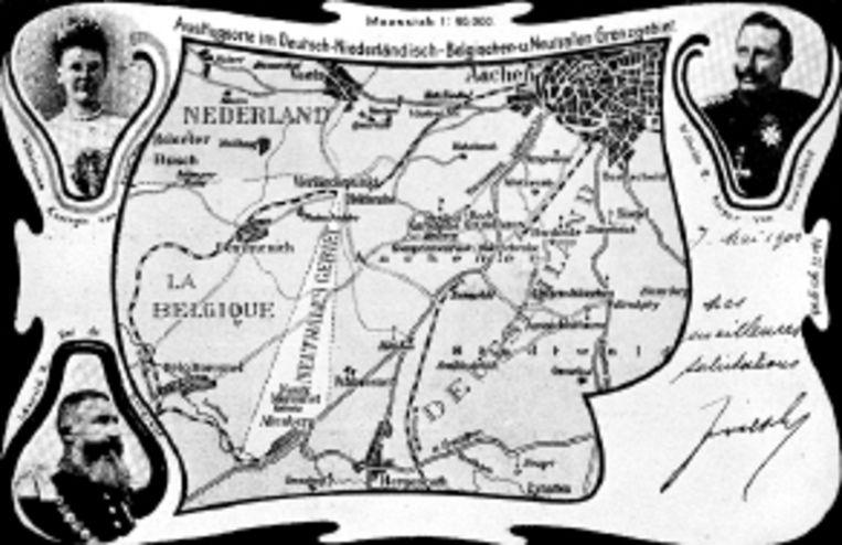 Met de klok mee: het voormalige Vierlandenpunt, nu Drielandenpunt, dat speciaal voor het negentigjarig jubileum een verfje heeft gekregen; een van de vroegere grenspalen; de 95-jarige Agnes Hackens-Paffen, die een van de oudste nog levende Moresnetters is; en een oude kaart van het grensgebied. (FOTO'S WERRY CRONE, TROUW ) Beeld