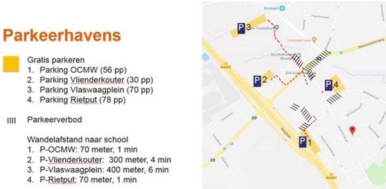 De vier parkeerhavens in Bissegem. Rietput is wel te vermijden, voor wie leerlingen van de Sint-Vincentiusschool wil afzetten.