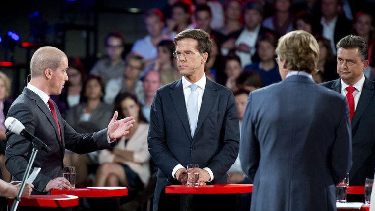 Lijsttrekkers Diederik Samsom (PvdA), Mark Rutte (VVD) en Emile Roemer (SP) tijdens het verkiezingsdebat van de NOS Beeld ANP