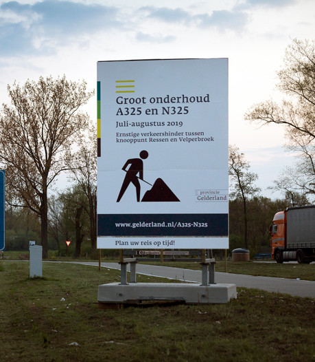 A325 vanaf maandag drie weken afgesloten tussen Knooppunt-Ressen en Nijmeegseplein