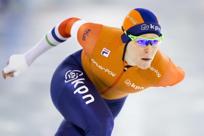 2017-01-08 16:38:15 HEERENVEEN - Jorien ter Mors in actie op de 1000 meter tijdens het EK Sprint in Thialf. ANP VINCENT JANNINK
