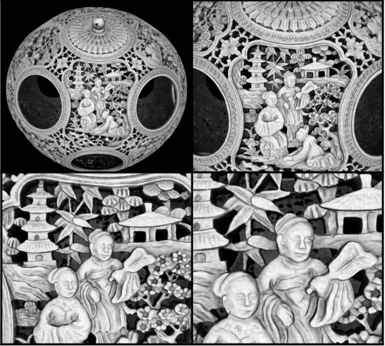 Details van de Chinese puzzelbal. Beeld Robert van Liere