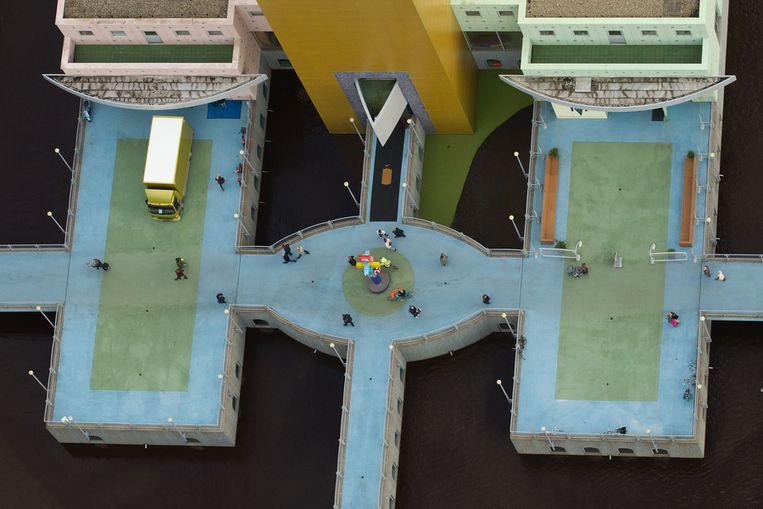 Luchtfoto van het Groninger Museum. © ANP Beeld null