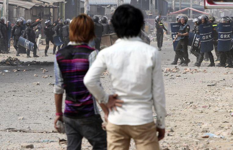 Protesten in Cambodja, januari 2014. Beeld reuters