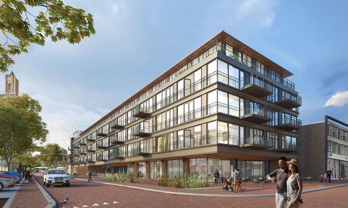 Impressie van appartementengebouw Verto Arnhem op de hoek Broerenstraat-Beekstraat in Arnhem.