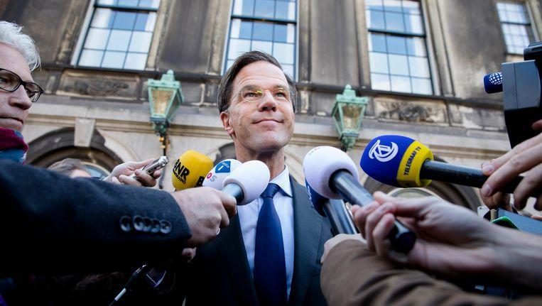 Fractievoorzitter Mark Rutte (VVD) eerder deze week, na afloop van een gesprek met verkenner Edith Schippers. Beeld ANP